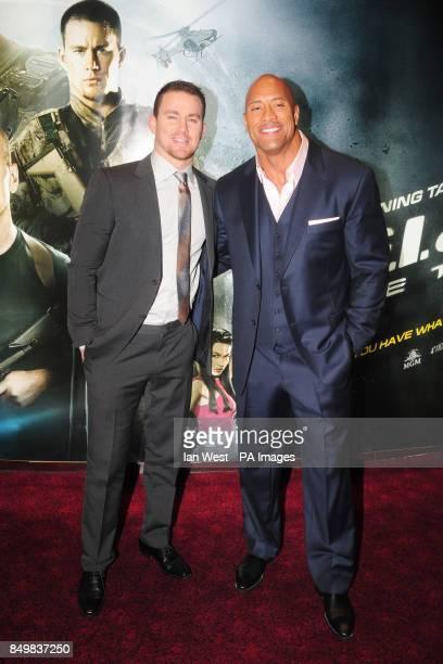 Channing Tatum and Dwayne Johnson arrive for the UK premiere of GI Joe Retaliation at the Empire Cinema in London