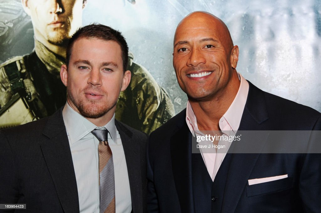 <a gi-track='captionPersonalityLinkClicked' href=/galleries/search?phrase=Channing+Tatum&family=editorial&specificpeople=549548 ng-click='$event.stopPropagation()'>Channing Tatum</a> and <a gi-track='captionPersonalityLinkClicked' href=/galleries/search?phrase=Dwayne+Johnson&family=editorial&specificpeople=210704 ng-click='$event.stopPropagation()'>Dwayne Johnson</a> attend the UK premiere of 'G.I. Joe: Retaliation' at The Empire Leicester Square on March 18, 2013 in London, England.