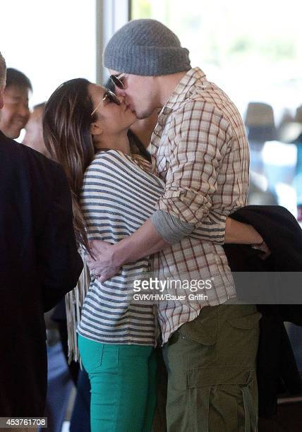 Channing Tatum and his wife Jenna Dewan is seen at Los Angeles International Airport on February 16 2012 in Los Angeles California