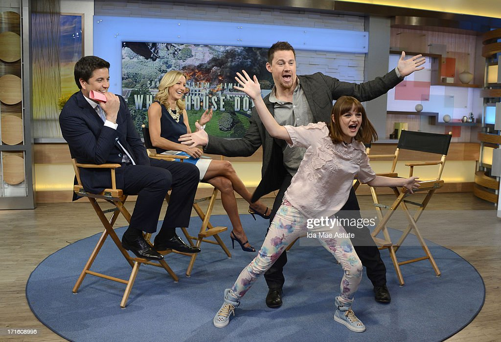 AMERICA - <a gi-track='captionPersonalityLinkClicked' href=/galleries/search?phrase=Channing+Tatum&family=editorial&specificpeople=549548 ng-click='$event.stopPropagation()'>Channing Tatum</a> and his young co-star Joey King, who plays his daughter in the film 'White House Down' demonstrate the 'chan-shake' on GOOD MORNING AMERICA, 6/25/13, airing on the ABC Television Network. (Photo by Ida Mae Astute/ABC via Getty Images) JOSH