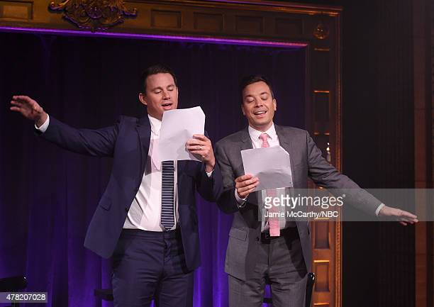 Channing Tatum and host Jimmy Fallon during a segment on 'The Tonight Show Starring Jimmy Fallon'at Rockefeller Center on June 23 2015 in New York...