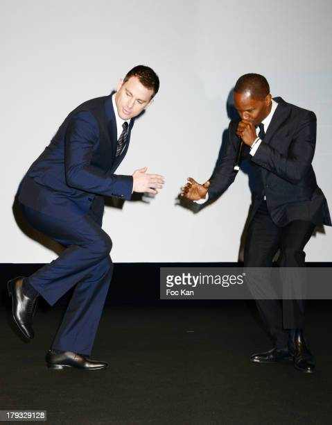 Channing Tatum and Jamie Foxx attend the 'White House Down' Premiere at The 39th Deauville Film Festival at the CID on September 1 2013 in Deauville...