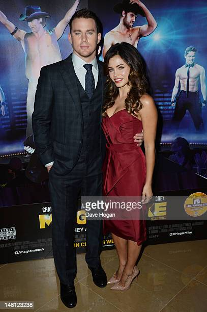 Channing Tatum and Jenna Dewan attend the European premiere of Magic Mike at The Mayfair Hotel on July 10 2012 in London England