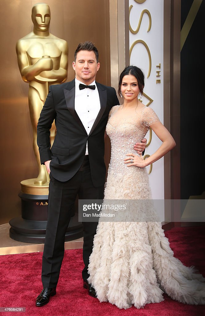 Channing Tatum (L) and Jenna Dewan-Tatum arrive at the 86th Annual Academy Awards at Hollywood & Highland Center on March 2, 2014 in Los Angeles, California.