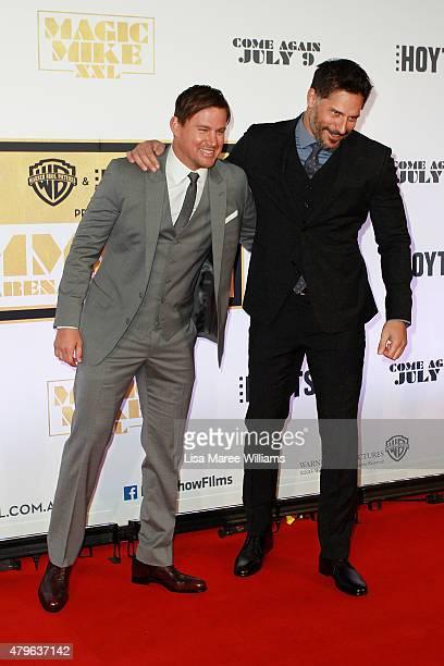 Channing Tatum and Joe Manganiello arrive at the 'Magic Mike XXL' Australian premiere on July 6 2015 in Sydney Australia