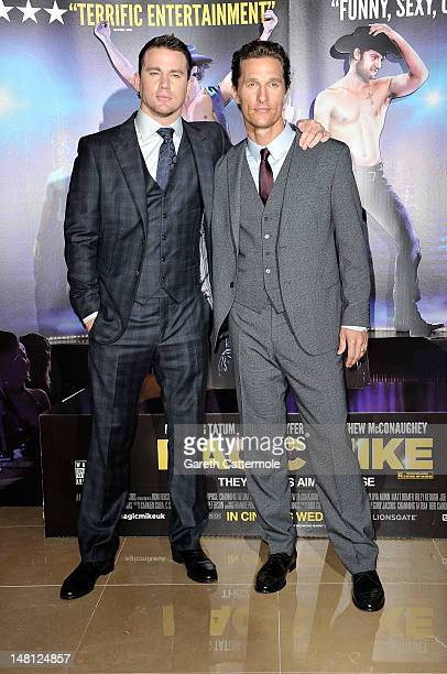 Channing Tatum and Matthew McConaughey attend the European premiere of Magic Mike at The Mayfair Hotel on July 10 2012 in London England