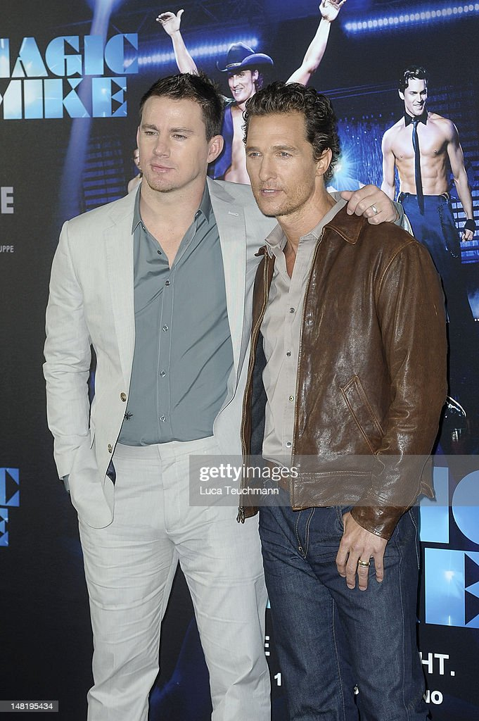 <a gi-track='captionPersonalityLinkClicked' href=/galleries/search?phrase=Channing+Tatum&family=editorial&specificpeople=549548 ng-click='$event.stopPropagation()'>Channing Tatum</a> and <a gi-track='captionPersonalityLinkClicked' href=/galleries/search?phrase=Matthew+McConaughey&family=editorial&specificpeople=201663 ng-click='$event.stopPropagation()'>Matthew McConaughey</a> attend the 'Magic Mike' photocall at Hotel De Rome on July 12, 2012 in Berlin, Germany.