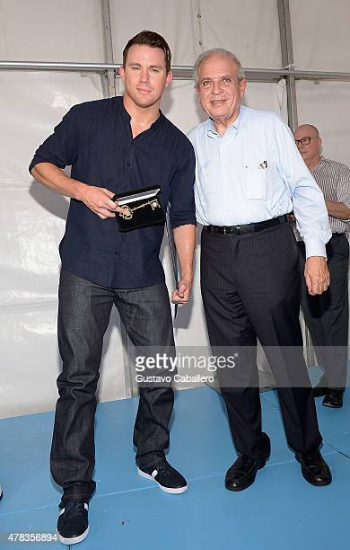 Channing Tatum and Miami Mayor Tomas Pedro Regalado attends Magic Mike XXL cast honored with stars on The Official Miami Walk Of Fame at Bayside...