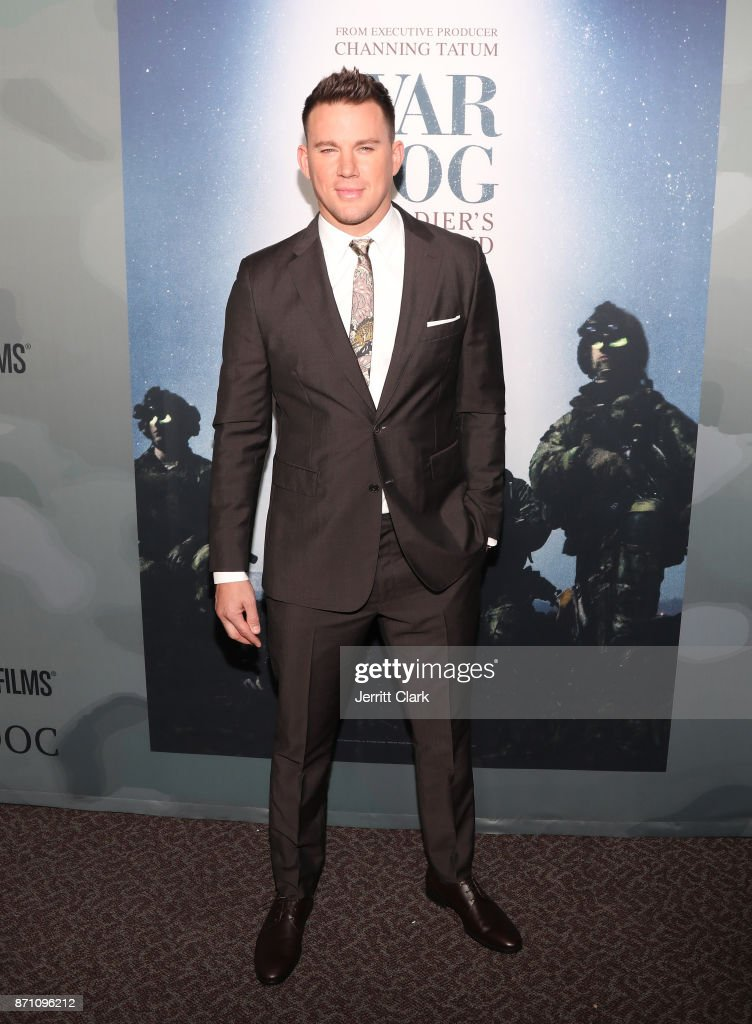 Channing Tatum attends HBO And Army Ranger Lead The Way Fund Present The Premiere Of 'War Dog: A Soldier's Best Friend' at Directors Guild Of America on November 6, 2017 in Los Angeles, California.