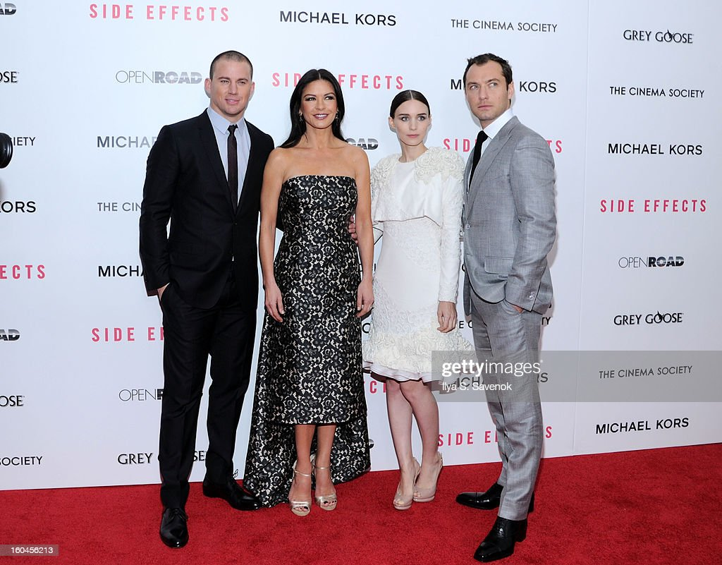 <a gi-track='captionPersonalityLinkClicked' href=/galleries/search?phrase=Channing+Tatum&family=editorial&specificpeople=549548 ng-click='$event.stopPropagation()'>Channing Tatum</a>, Catherine Zeta-Jones, <a gi-track='captionPersonalityLinkClicked' href=/galleries/search?phrase=Rooney+Mara&family=editorial&specificpeople=5669181 ng-click='$event.stopPropagation()'>Rooney Mara</a> and <a gi-track='captionPersonalityLinkClicked' href=/galleries/search?phrase=Jude+Law&family=editorial&specificpeople=156401 ng-click='$event.stopPropagation()'>Jude Law</a> attend the premiere of 'Side Effects' hosted by Open Road with The Cinema Society and Michael Kors at AMC Lincoln Square Theater on January 31, 2013 in New York City.