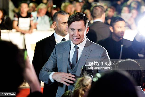 Channing Tatum greets fans on the red carpet at the 'Magic Mike XXL' Australian premiere on July 6 2015 in Sydney Australia