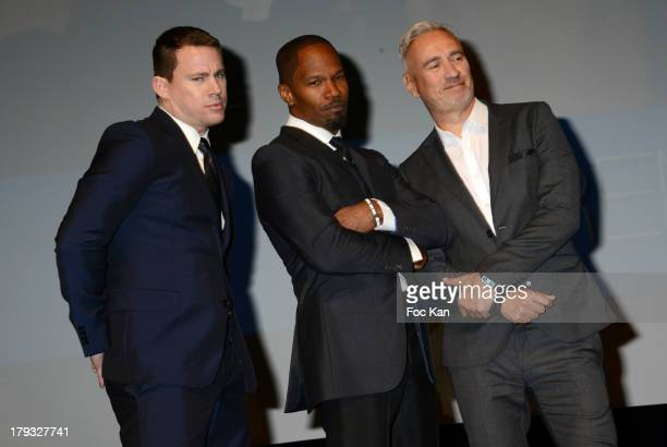 Channing Tatum Jamie Foxx and Roland Emmerich attend the 'White House Down' Premiere at The 39th Deauville Film Festival at the CID on September 1...