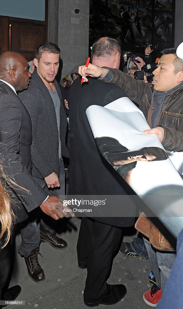Channing Tatum sighting leaving the Apollo cinema after his White House Down fan event on March 26, 2013 in London, England.