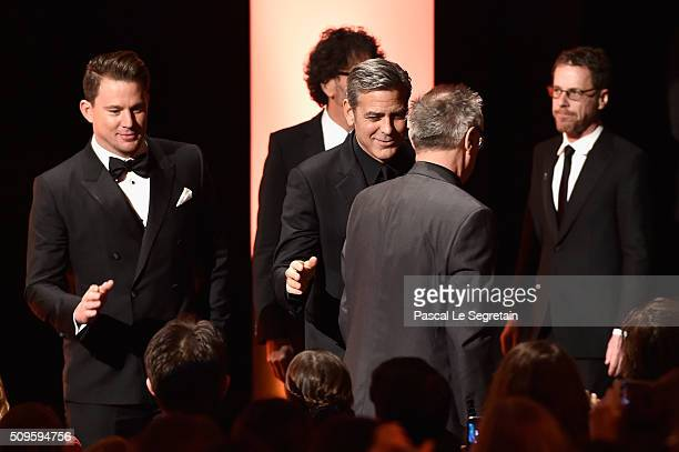 Channing TatumGeorge Clooney and Ethan Coen pose on stage during the opening ceremony of the 66th Berlinale International Film Festival Berlin at...