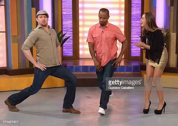 Channing TatumJamie Foxx and Maria Elisa Camargo appears on Univision's 'Despierta America' to promote film 'White House Down' at Univision...