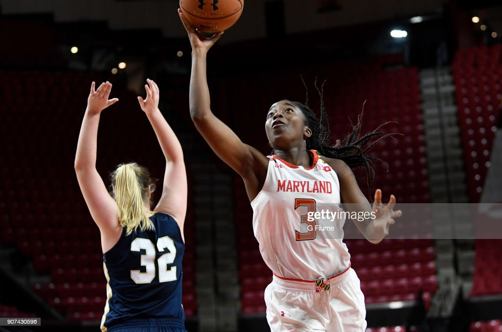 Channise Lewis #3 of the Maryland Terrapins shoots the ball against the Mount St. Mary's Mountaineers at Xfinity Center on December 6, 2017 in College Park, Maryland.