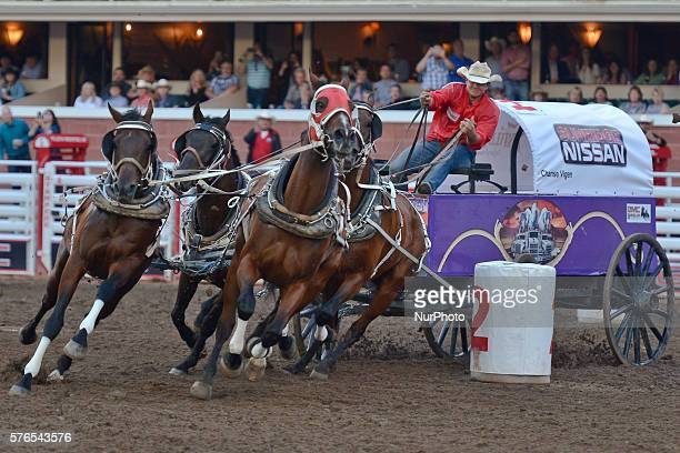 Chanse Vigen from Grande Prairie AB during the GMC Rangeland Derby's nine chuckwagon races at the Calgary Stampede 2016 On Thursday 14 July 2016 in...