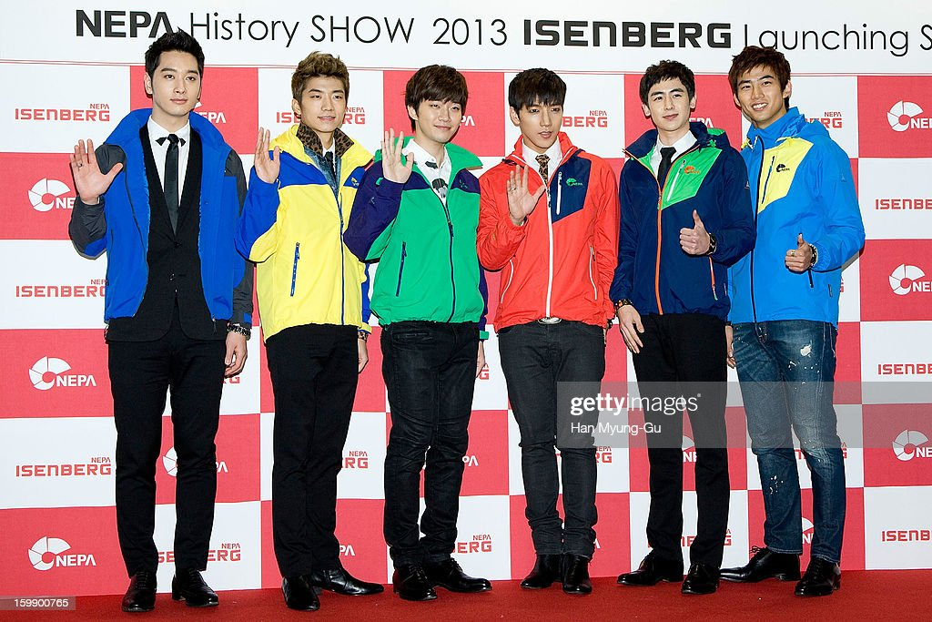 Chansung, Wooyoung, Junho, Junsu, Nichkhun and <a gi-track='captionPersonalityLinkClicked' href=/galleries/search?phrase=Taecyeon&family=editorial&specificpeople=7419778 ng-click='$event.stopPropagation()'>Taecyeon</a> of South Korean boy band 2PM attend a promotional event for the NEPA History Show 2013 'ISENBERG' Launching Show at COEX on January 22, 2013 in Seoul, South Korea.