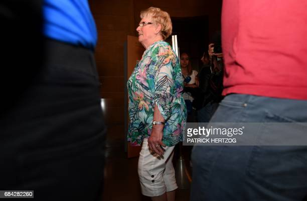 Chantal Beining mother of victim Cyril Beining arrives to hear the verdict on May 17 2017 at the Assize Court of Moselle in Metz eastern France on...