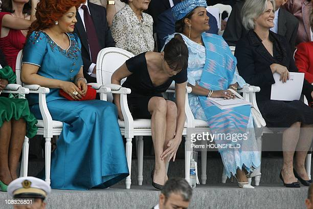 Chantal Biya Carla Bruni Sarkozy Chantal Compaore Penelope Fillon in Paris France on July 14th 2010