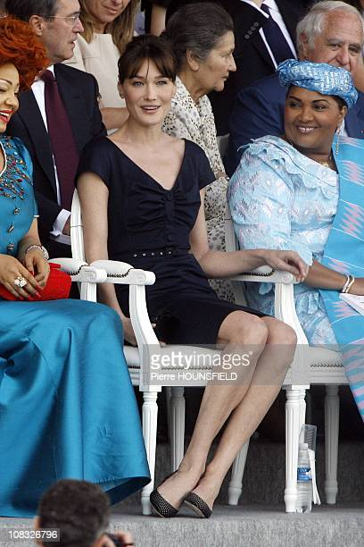 Chantal Biya Carla Sarkozy Chantal Compaore in Paris France on July 14th 2010