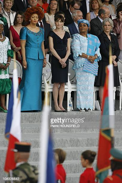 Chantal Biya Carla Sarkozy Chantal Compaore Penelope Fillon in Paris France on July 14th 2010