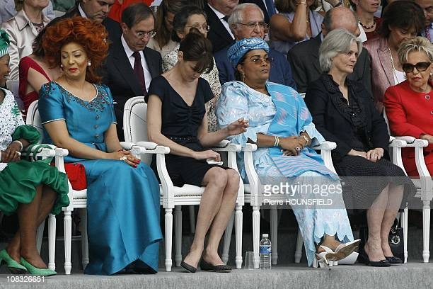 Chantal Biya Carla Sarkozy Chantal Compaore Penelope Fillon Viviane Wade in Paris France on July 14th 2010