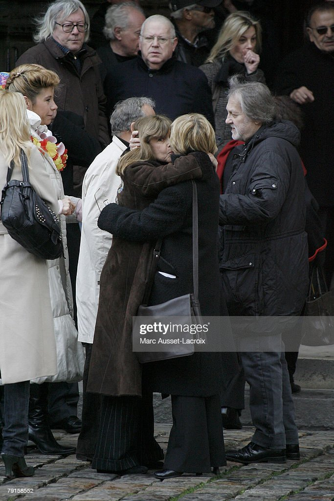 Chantal Goya and her husband Jean-Jacques Debout leave the St Germain church after the funeral mass of singer Carlos in Paris, France on January 22, 2008.
