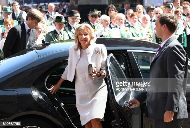 Chantal Hochuli arrives for the church wedding of Prince Ernst August of Hanover and Ekaterina of Hanover in Hanover central Germany on July 8 2017...