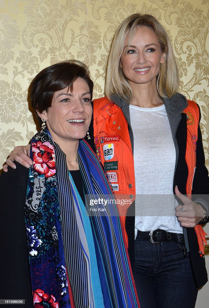 Chantal Jouanno and Adriana Karembeu attend the Rallye Aicha des Gazelles du Maroc' 2013 - Press Conference at Palais du Luxembourg on February 12, 2013 in Paris, France.