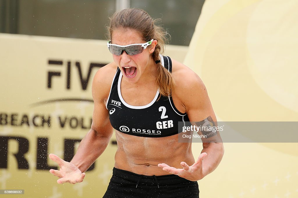 Chantal Laboureur of Germany celebrates a victory in the game during day 4 of FIVB Sochi Open presented by VTB on May 6, 2016 in Sochi, Russia.