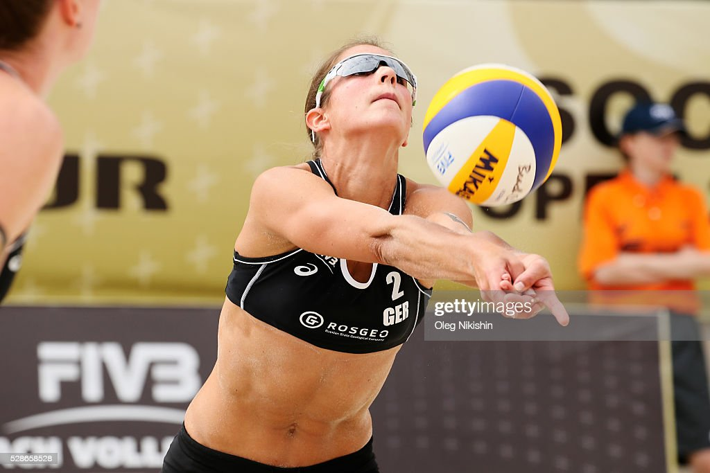 Chantal Laboureur of Germany receives a ball during day 4 of FIVB Sochi Open presented by VTB on May 6, 2016 in Sochi, Russia.