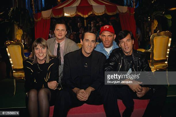 Chantal Ladesou Francois Rollin Laurent Baffie and Philippe Corti on the set of TV show Double jeux hosted by Thierry Ardisson