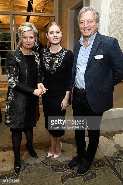 BAFTA LA CEO Chantal Rickards Actor Amy Adams and Deputy Chair Peter Morris attend The BAFTA Tea Party at Four Seasons Hotel Los Angeles at Beverly...