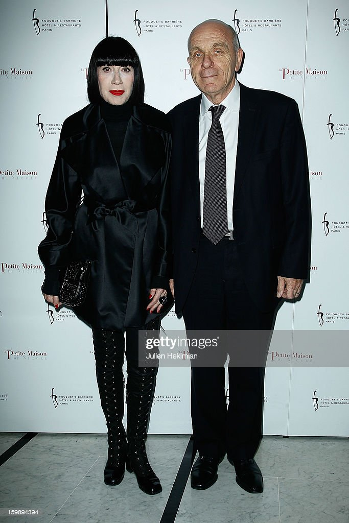 Chantal Thomass and her husband attend 'La Petite Maison De Nicole' Inauguration Photocall at Hotel Fouquet's Barriere on January 22, 2013 in Paris, France.