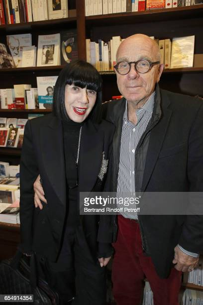 Chantal Thomass and her husband Michel Fabian attend Bertrand Matteoli Signing Book 'Bien Dans Sa Peau' at Librairie Galignali on March 18 2017 in...