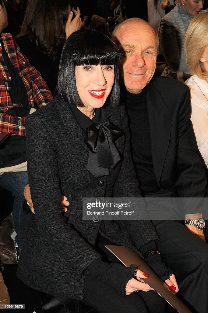 Chantal Thomass (L) and her husband Michel Fabian attend the Elie Saab Spring/Summer 2013 Haute-Couture show as part of Paris Fashion Week at Pavillon Cambon Capucines on January 23, 2013 in Paris, France.