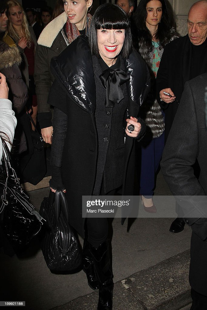 Chantal Thomass is seen leaving the Elie Saab Spring/Summer 2013 Haute-Couture show as part of Paris Fashion Week at Pavillon Cambon Capucines on January 23, 2013 in Paris, France.