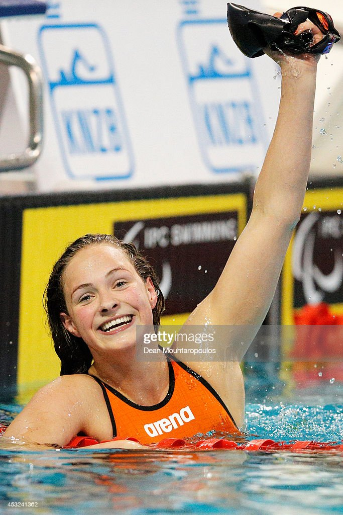 Chantalle Zijderveld of the Netherlands celebrates after she competes and wins the Women's 100m Breaststroke SB9 final during the IPC Swimming European Championships held at the Pieter van den Hoogenband Swimming Stadium on August 6, 2014 in Eindhoven, Netherlands.