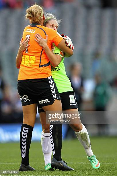 Chantel Jones of Canberra celebrates with teammate Ellie Brush of Canberra after a win during the round seven WLeague match between Melbourne and...