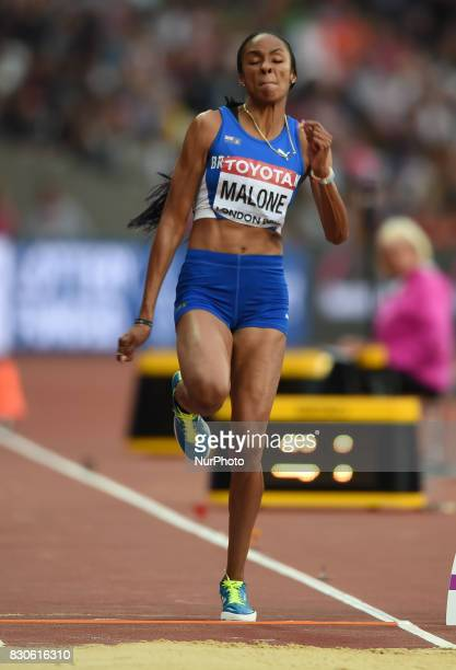 Chantel Malone of British Virgin Island jumps in the long jump final in London at the 2017 IAAF World Championships athletics at the London Stadium...