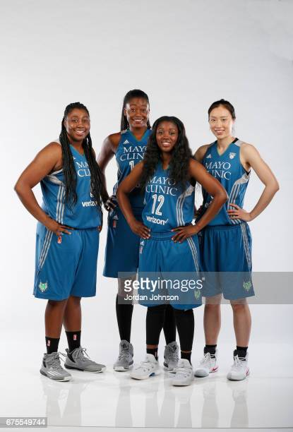 Chantel Osahor Temi Fagbenle Alexis Jones and Shao Ting of the Minnesota Lynx pose for portraits during 2017 Media Day on May 1 2017 at the Minnesota...