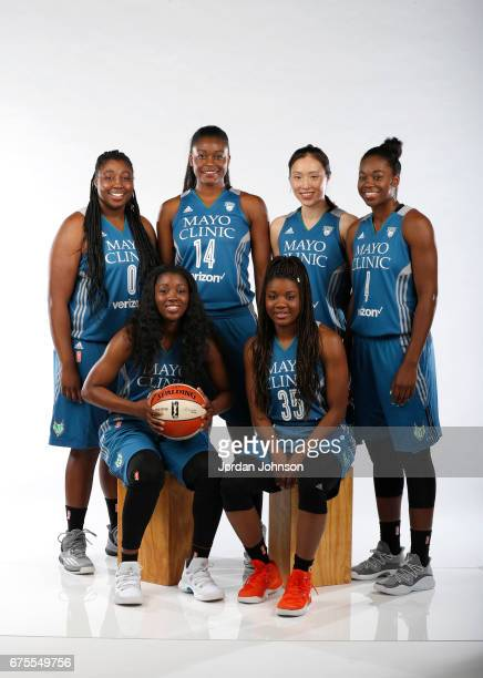 Chantel Osahor Temi Fagbenle Shao Ting Breanna Richardson Alexis Jones and Moriah Mack of the Minnesota Lynx pose for portraits during 2017 Media Day...