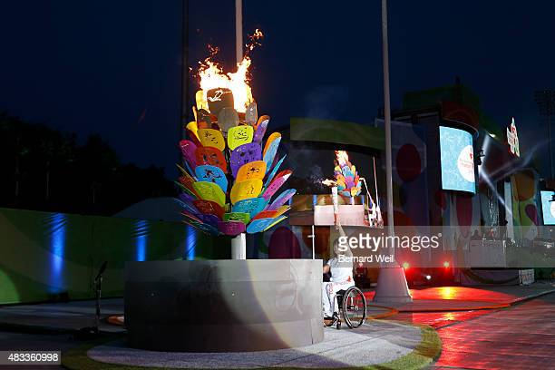 TORONTO ON AUGUST 7 Chantel Petitclerc light the cauldron during the opening ceremonies of the Parapan Am Games Toronto August 7 2015