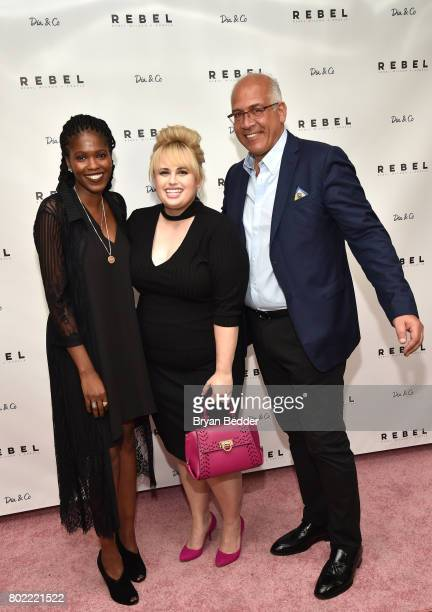 Chantel Valntene Rebel Wilson and Charles Mamiye pose for a photo together at the REBEL WILSON X ANGELS Collection Launch Party at DiaCo on June 27...