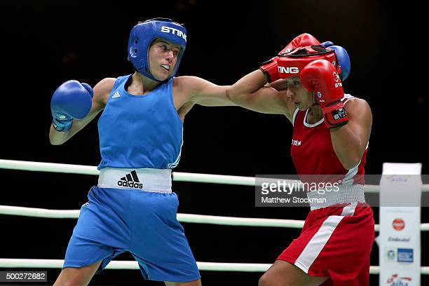 Chantelle Anna Cameron of Great Britain fights Estelle Mosley of France during the Women's Light class during the International Boxing Tournament...