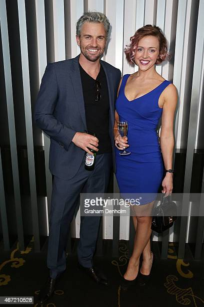 Chantelle Ford and Steve O'Donnell pose at the TV Week Logie Awards Nominations Party at Crown Metropol on March 22 2015 in Melbourne Australia