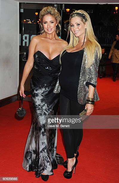 Chantelle Houghton and Nicola McLean attend the World premiere of 'A Christmas Carol' at the Odeon Leicester Square on November 3 2009 in London...