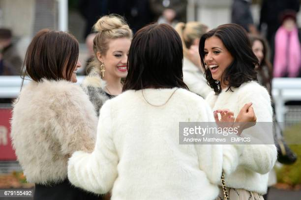 Chantelle Houghton Lucy Mecklenburgh and Kelsey Hardwick in the parade ringduring the Tingle Creek Christmas Festival at Sandown Racecourse