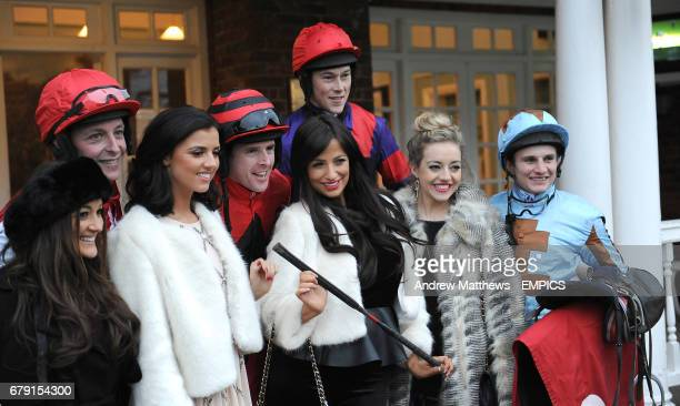 Chantelle Houghton Lucy Mecklenburgh and Kelsey Hardwick pose with jockeys Jason Maguires James Davies Jamie Moore and Colin Bolger